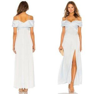 LPA Shirred Cross Front Gown Blue Maxi Dress Small